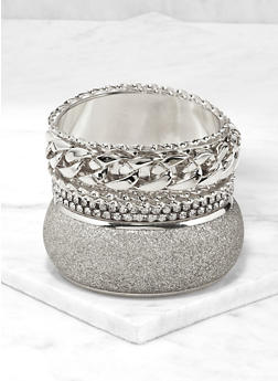 Plus Size Assorted Curb Chain Bangles Set - 1194062926251