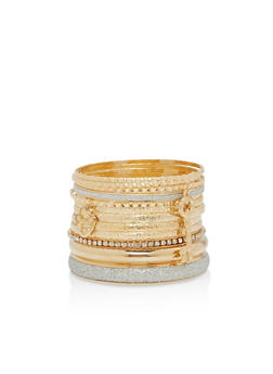Plus Size Glitter Textured Bangles - 1194062927067