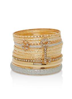 Set of Glitter and Rhinestone Bangles - 1194062927607