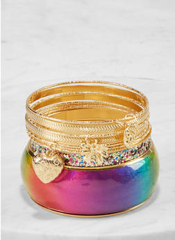 Plus Size Glitter Heart Bangles - 1194062928026