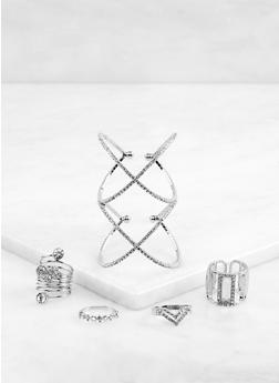 Rhinestone Criss Cross Cuff Bracelet and Rings Set - 1194062928813