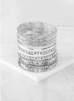 Plus Size Glitter Rhinestone Metallic Bangles - 1194067257806