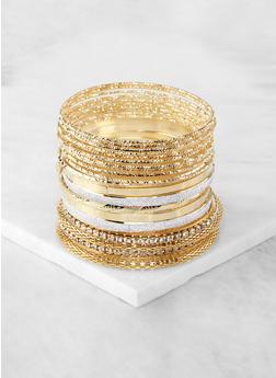 Plus Size Metallic Glitter Rhinestone Bangles - 1194067257807