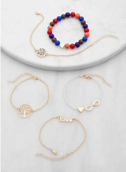 Assorted Beaded and Chain Bracelets Set - 1194071210063