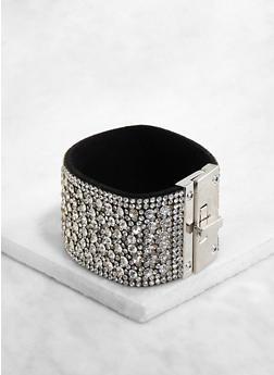 Wide Rhinestone Studded Bracelet - 1194071215889