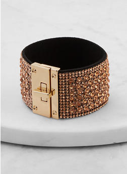 Rhinestone Turn Lock Bracelet - 1194071219885