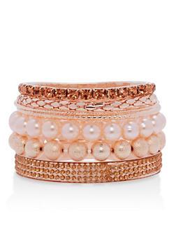Faux Pearl Rhinestone Metallic Bracelets - 1194071430171