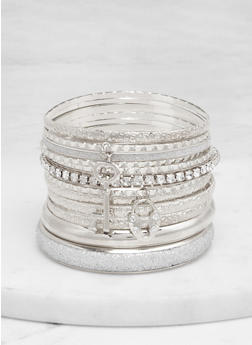 Plus Size Set of 12 Textured Bangles - 1194071431907