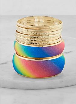 Plus Size Rainbow Bangles Set - 1194071431919