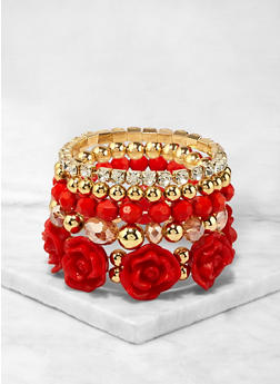 Set of 5 Beaded Flower Stretch Bracelets - 1194071433031