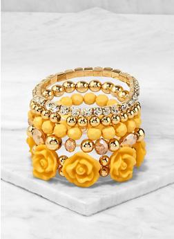 Set of 5 Beaded Flower Stretch Bracelets - 1194071433031