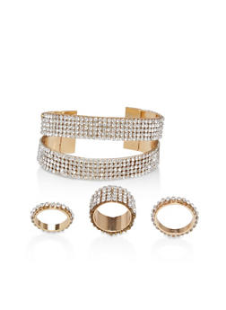 Rhinestone Cuff Bracelet with Matching Rings - 1194071438590