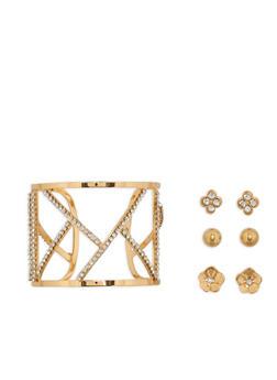Rhinestone Open Cuff Bracelet with Set of 3 Stud Earrings - 1194072693164
