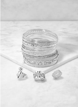 Plus Size Metallic Bangles and Rings Set - 1194072693653