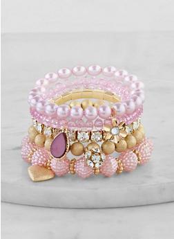 Gem Charm Beaded Stretch Bracelets - 1194072694643