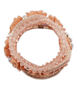 Plus Size Metallic Rhinestone Beaded Stretch Bracelets - 1194072698897