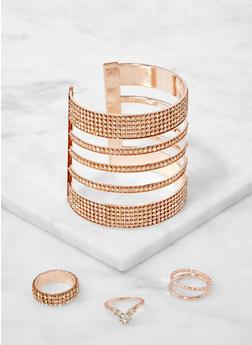Rhinestone Cut Out Cuff Bracelet and Ring Trio - 1194073843856