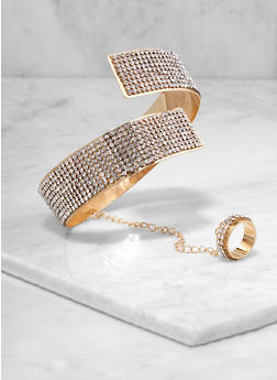 Rhinestone Coil Bangle with Attached Ring - 1194073843858