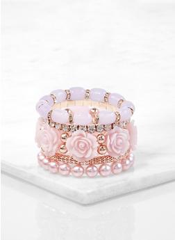Rose Bud Beaded Stretch Bracelets - 1194073843906