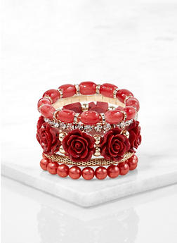 Rose Bud Beaded Stretch Bracelets - 1194073843906