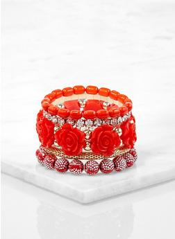 Set of Rose Bud Beaded Stretch Bracelets - 1194073843908