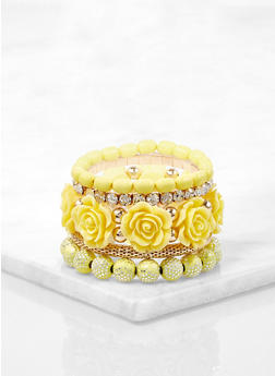 Set of Rose Bud Beaded Stretch Bracelets - 1194073843908
