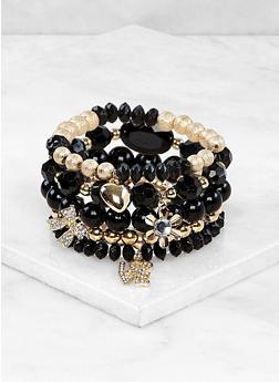 Beaded Metallic Stretch Bracelets - 1194073844009