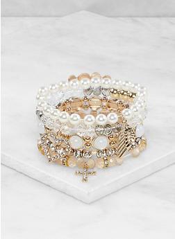 Beaded Faux Pearl Stretch Charm Bracelets - 1194073844010