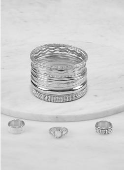 Plus Size Glitter Bangles and Ring Trio - 1194073844368