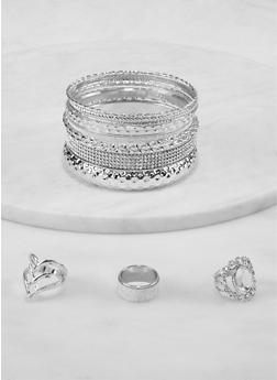 Plus Size Glitter Metallic Bangles and Ring Trio - 1194073844389