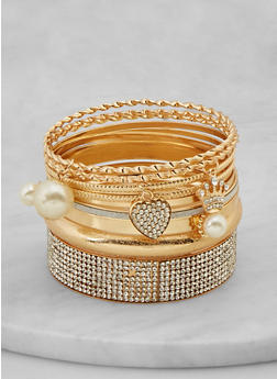 Plus Size Assorted Faux Pearl Bangles - 1194073844811