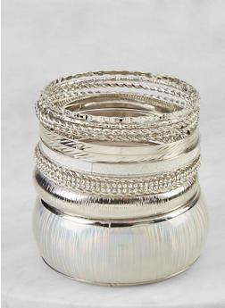 Plus Size Metallic Bangles Set - 1194073844812