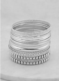 Plus Size Assorted Glitter Textured Bangles - 1194073844864