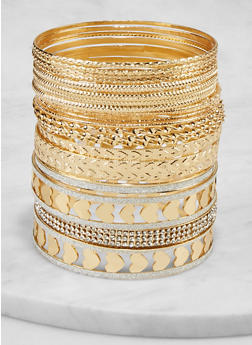 Plus Size Assorted Heart Bangles - 1194073845232