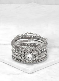 Rhinestone Metallic Stretch Bracelet Set - 1194074172352