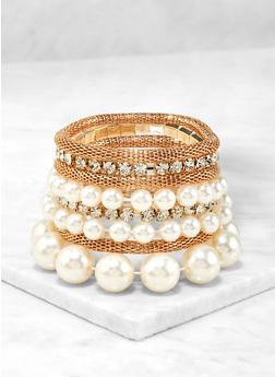 Faux Pearl Stretch Bracelet Set - 1194074173501