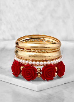 Metallic Faux Pearl Bangles and Stretch Bracelets - 1194074751053