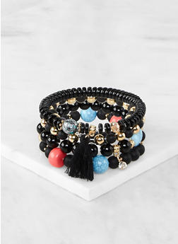 Set of 4 Beaded Metallic Stretch Bracelets - 1194074751503