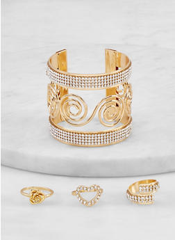Swirl Rhinestone Cuff with Assorted Ring Trio - 1194074974062