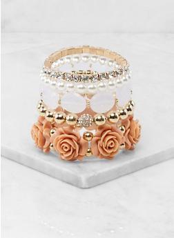 Metallic Rhinestone Beaded Stretch Bracelets - 1194074984087