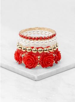 Rose Beaded Stretch Bracelets - 1194074984090