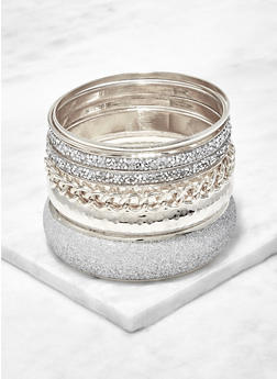 Plus Size Glitter and Metallic Bangles - 1194074985774