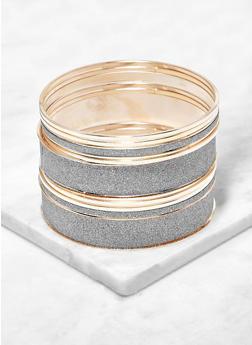 Plus Size Set of Glitter and Metallic Bangles - 1194074985786