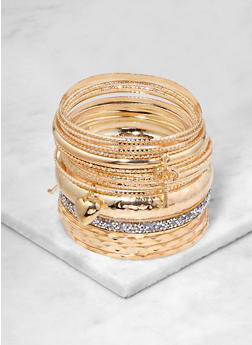 Plus Size Textured Metallic and Druzy Charm Bangles - 1194074985836