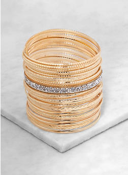 Plus Size Metallic and Druzy Charm Bangles - 1194074985844