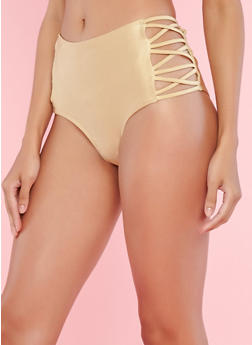 Gold High Waisted Caged Side Bikini Bottom - 1201060585726