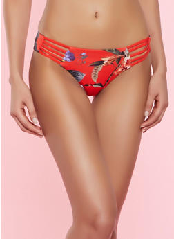 Floral Caged Bikini Bottom - 1201060586205