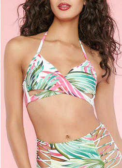 Leaf Print Caged Back Bikini Top - 1201072291803