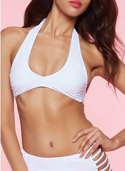Halter Bikini Top - WHITE - 1201072291809