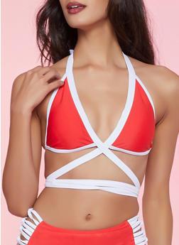 Contrast Trim Wrap Around Bikini Top | Red - 1201072291901